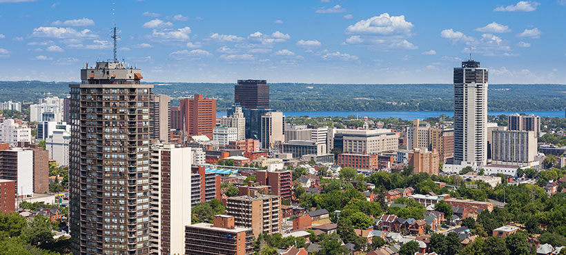 Skyline view of the city of Hamilton
