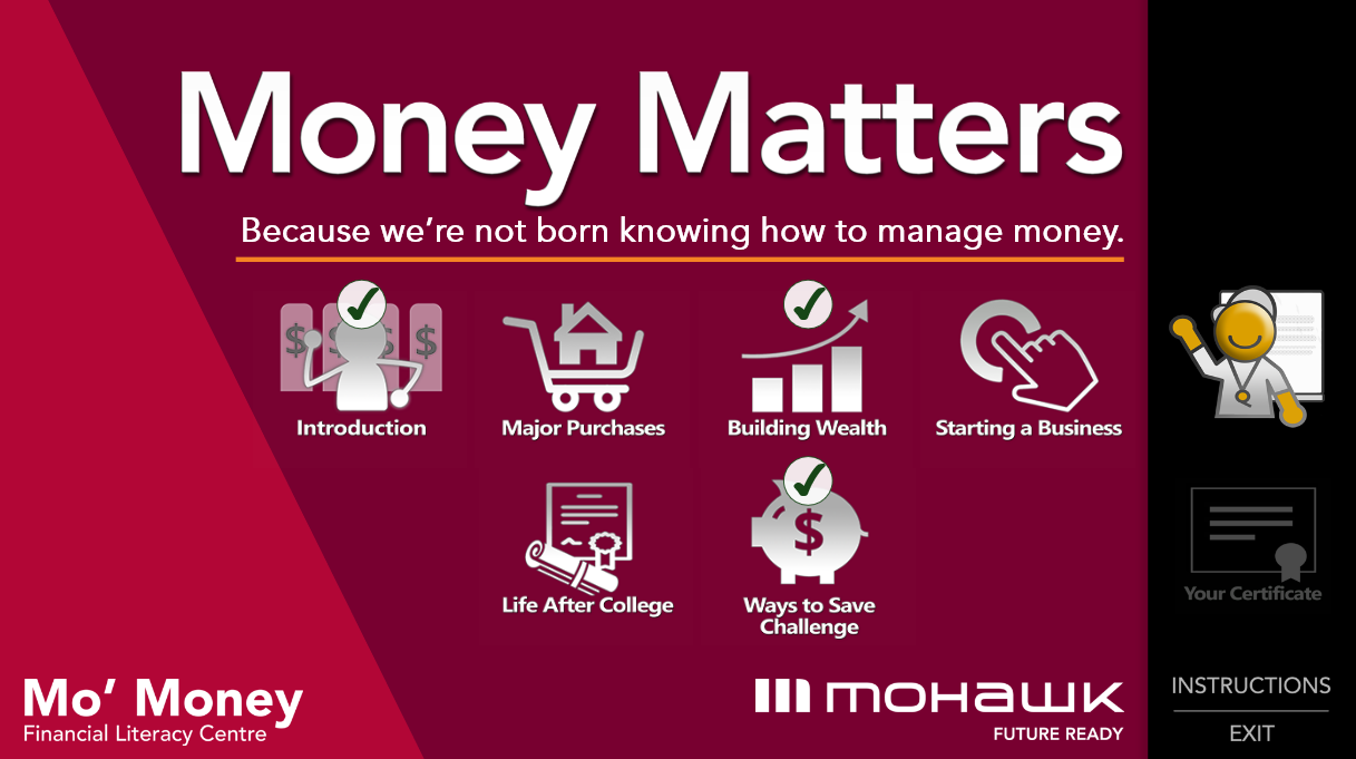 Poster reads Money Matters, because we're not born knowing how to manage money.