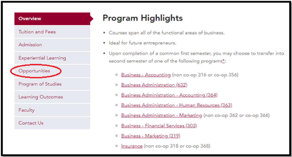 program highlight page (View pathways instruction for it)