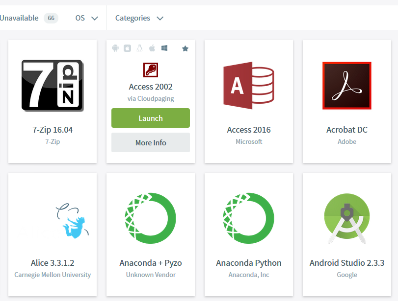 Screenshot of mohawk apps software hub listing available apps
