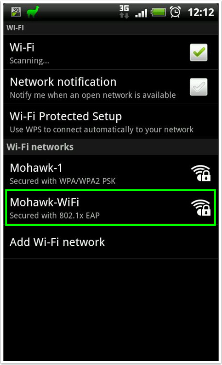 click on mohawk-wifi as the wifi