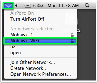 click on mohawk-wifi under wifi connections