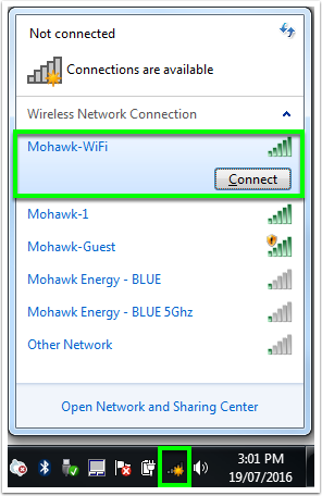 view of wireless connections on window seven
