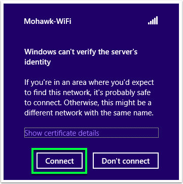 view of Mohawk-Wifi panel