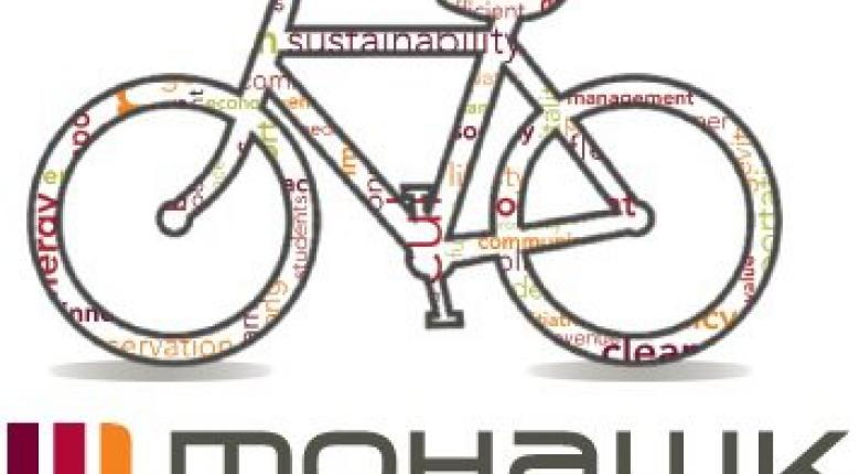 Bike with words on it Sustainability Office Logo