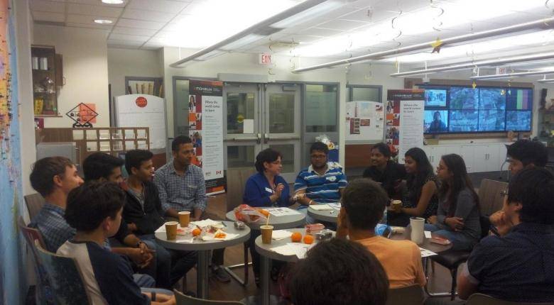 Group of Students having discussion during coffee club session