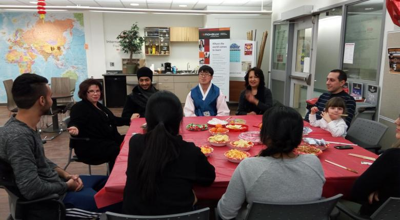 Group of Students gathered to celebrate Lunar New Year's Day in Coffe Club Session