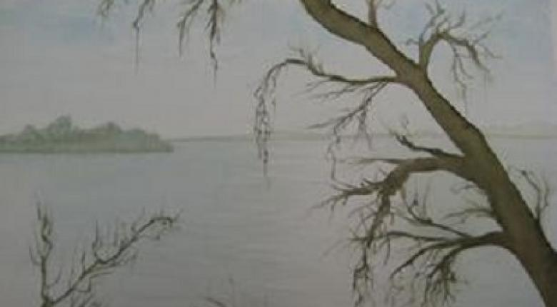 Watercolour Painting - Tree and Lake
