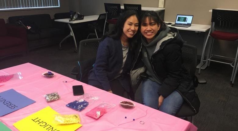 IAHS students making LGBTQ Rainbow keychains.