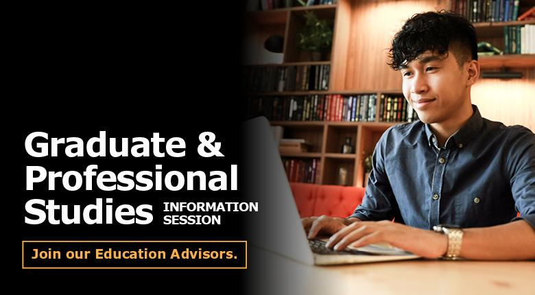 Student at computer with text: Graduate & Professional Studies Information Session