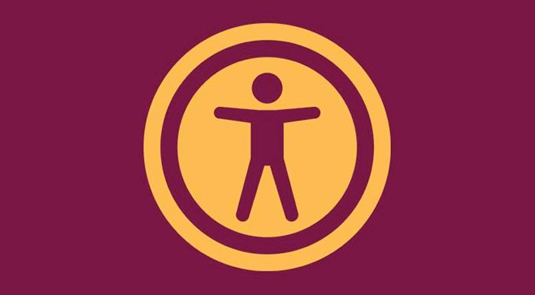 Mohawk College Accessible Media Production logo featuring the accessibility icon in burgundy and gold
