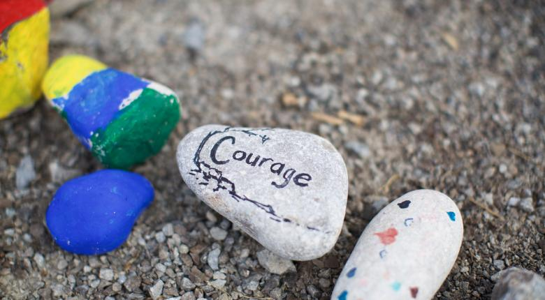 "Rock that says ""Courage"" at the IGP"