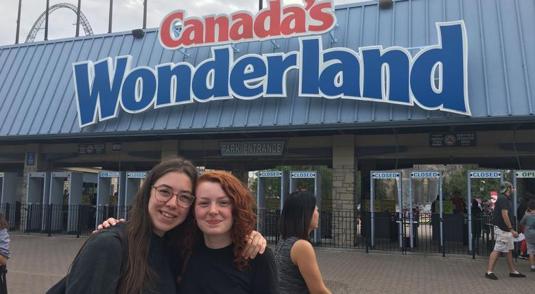 2 students in front of Canada's Wonderland