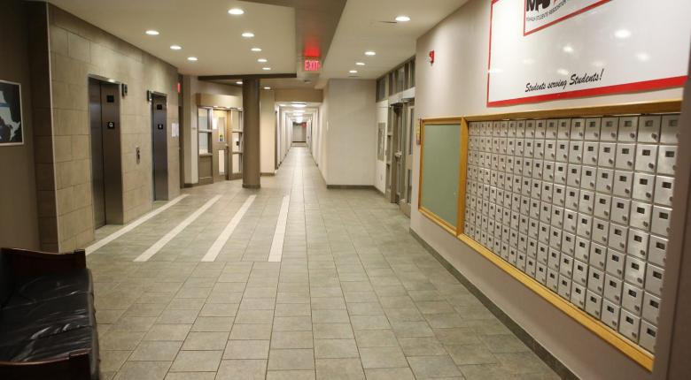 Elevator lobby with student mailboxes