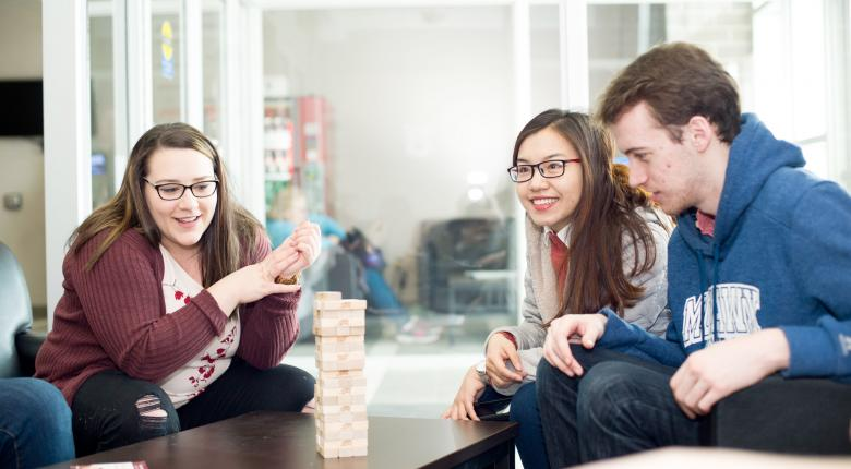 Students playing a game in the residence