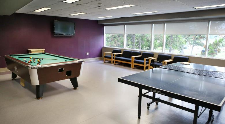 Games lounge with billiards table and table tennis