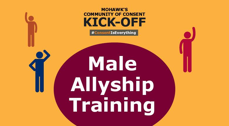Small male figured waving their hands colored in red, blue and orange. Large maroon circle with the words Male Allyship Training inside. Mohawk's Community of Consent Kick-Off at the top with hashtag Consent Is Everything
