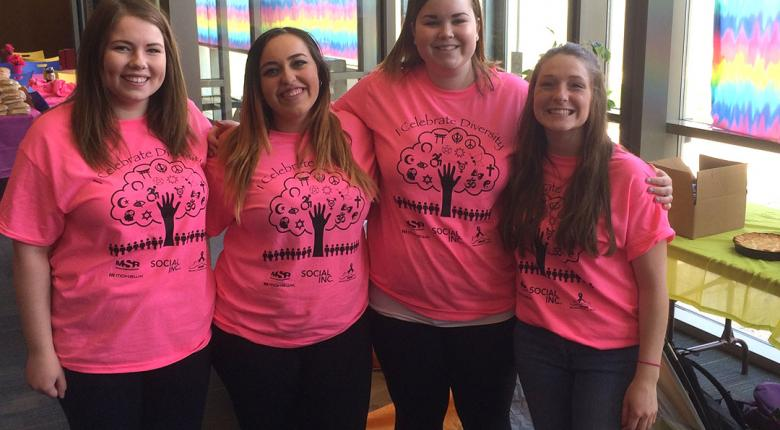 Students pose with pink t-shirts for Day of Pink 2017