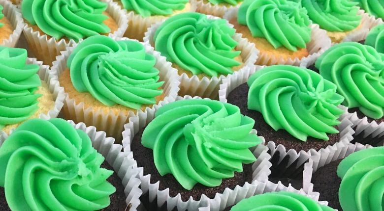 Green cupcakes for Saint Patrick's Day.