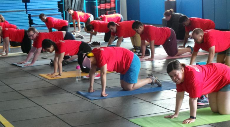 Participants doing yoga