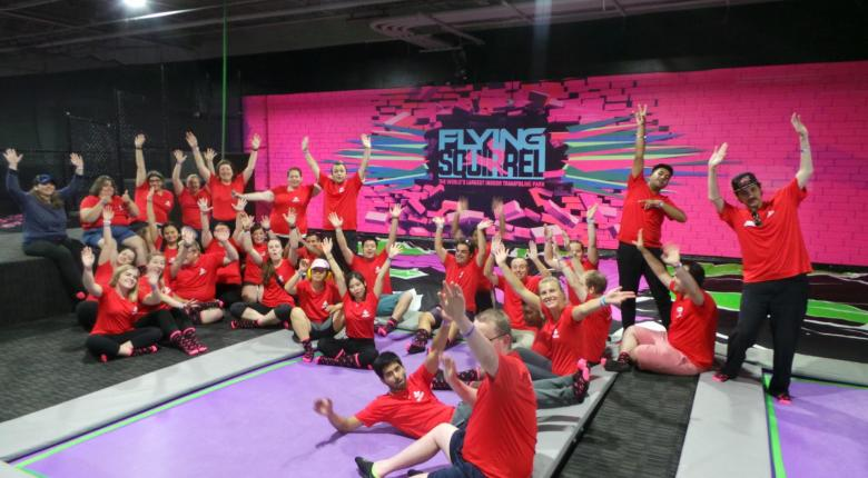 Participants at a trampoline park