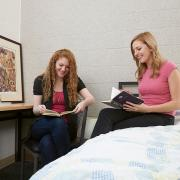 Two Girls Reading at Mohawk College Residence