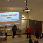 Student Leadership panel at front of classroom