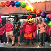 Mo the Hawk, performers, and students at Day of Pink 2017