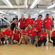 Participants making faces in the gym