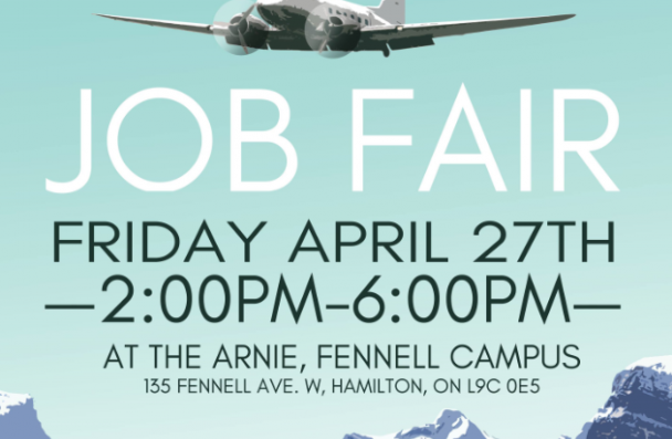 Mohawk college aviation job fair april 27th from 2:00pm - 6:00 pm at the arnie