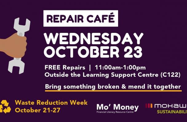 Repair Cafe event information and graphic of person holding a wrench