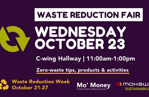 Waste Reduction Fair advertisement with event details a symbol representing circular economy