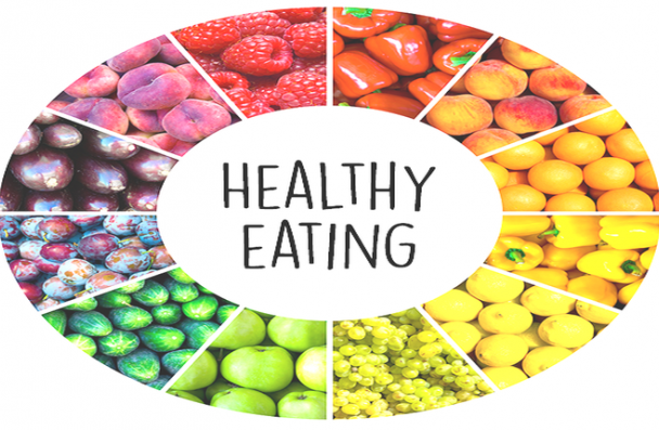 "Images of various fruits in a circle around the words ""Healthy Eating"""