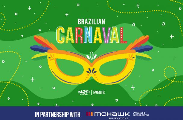 Poster showing a masquerade and the words Brazilian Carnaval