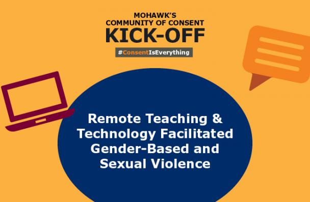 Large blue circle with the event name Remote Teaching & Technology Facilitated Gender-Based and Sexual Violence