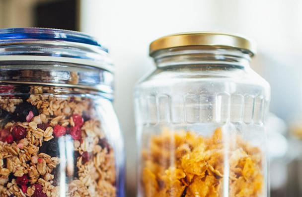 glass jars for storing cereal