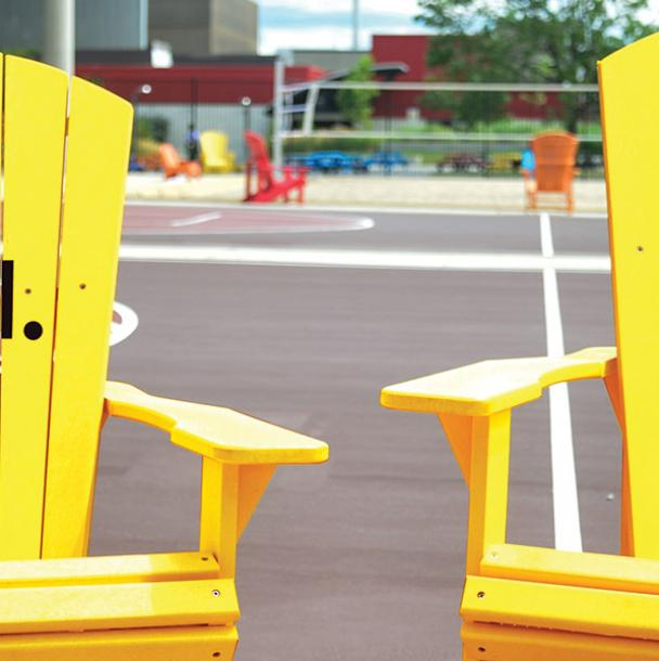 Yellow chairs at Mohawk College. Be well. Do well.
