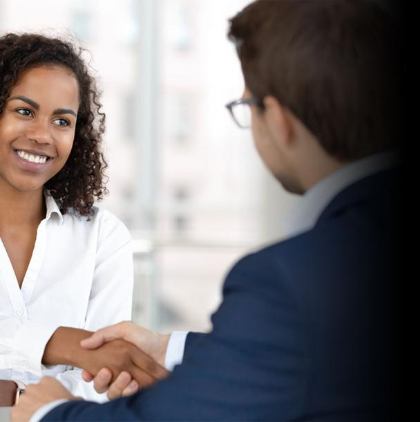 Shaking hands with a successful hire