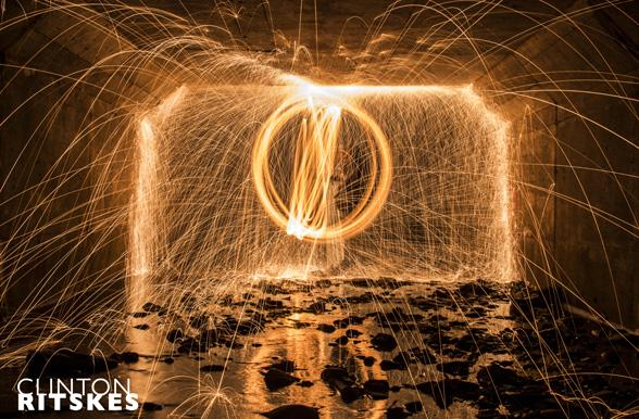Welding sparks in a circle