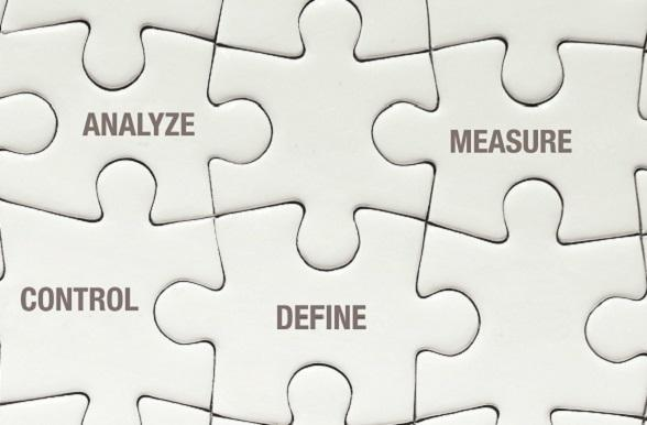 "Puzzle pieces with business words ""analyze"" ""measure"" ""control"" and ""define"""