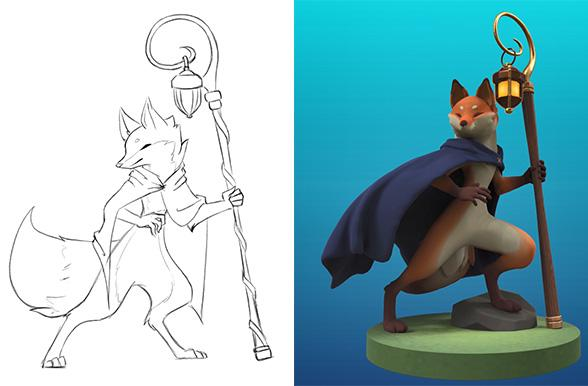 3d sculpt of a fox character by Justine