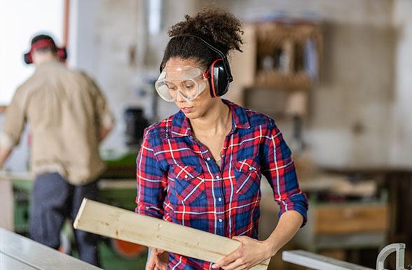 Student working in a carpentry shop