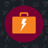 Logo with Orange Briefcase with Lightening Bold in a Burgundy Circle